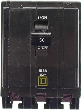 4 IN STOCK 3 Pole 240 Volt Bolt-On Circuit Breaker 50 Amp Square D QOB350