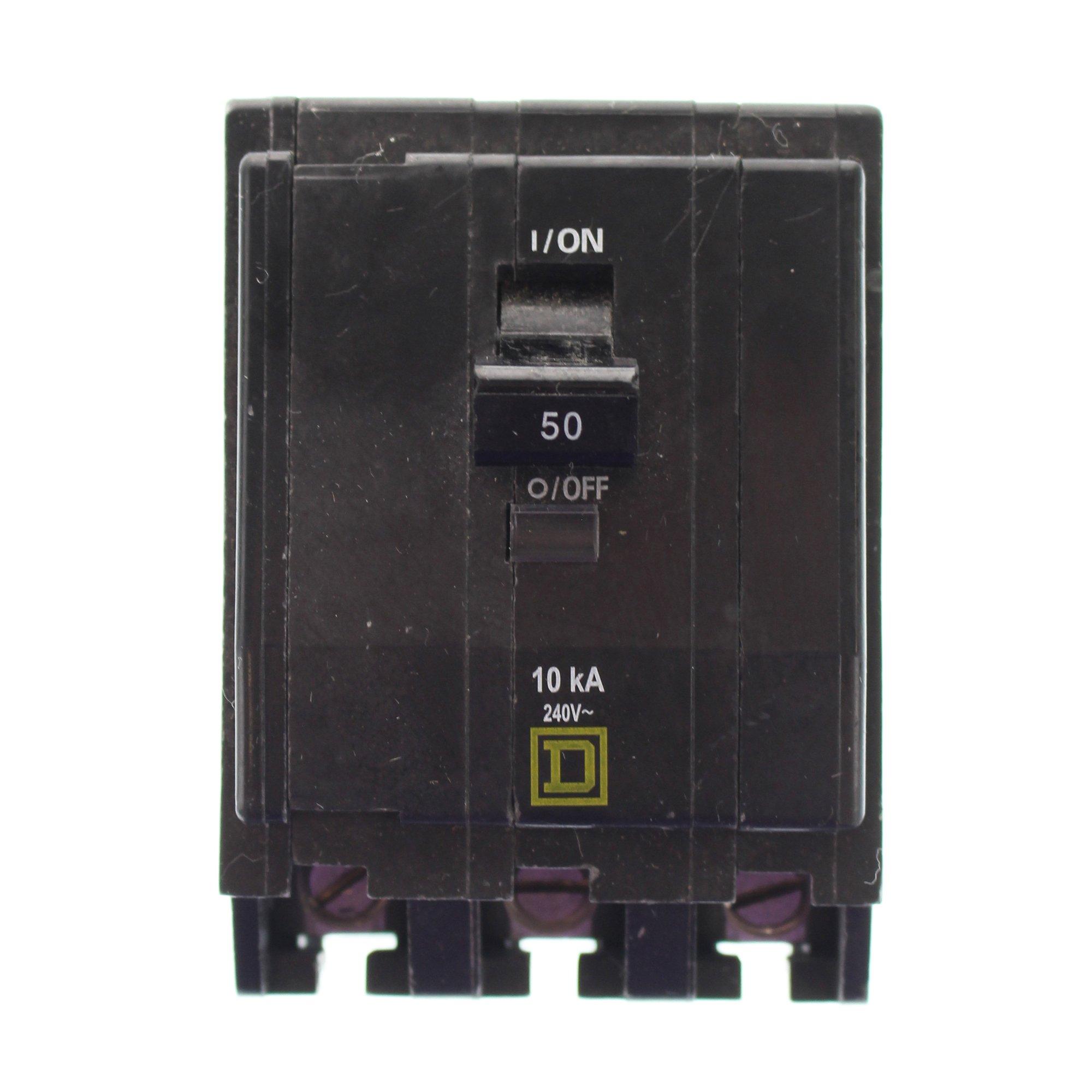 Square D QOB350 Miniature Circuit Breaker 50 Amp, 240 Volt AC, 48 Volt DC, 3-Pole, Bolt-On Mount