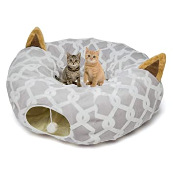 Amazon.com: Cama túnel para perro o gato con tubo de cojín ...