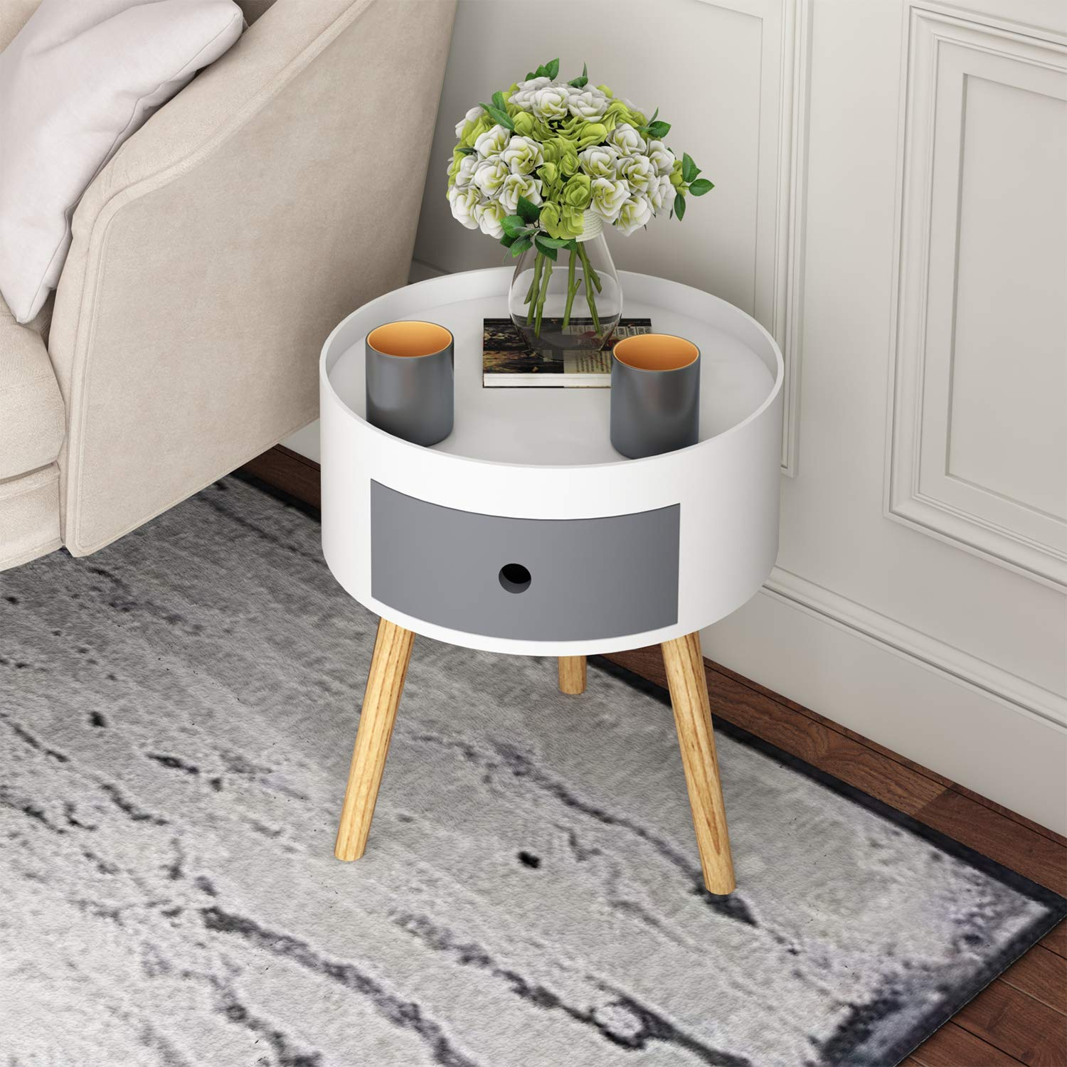 Joolihome White Wooden Bedside Table With Drawers Scandinavian Style Round Sofa Table End Table Side Table Corner Table Bedroom Furniture 38x38x40cm Buy Online In Grenada At Grenada Desertcart Com Productid 170695470