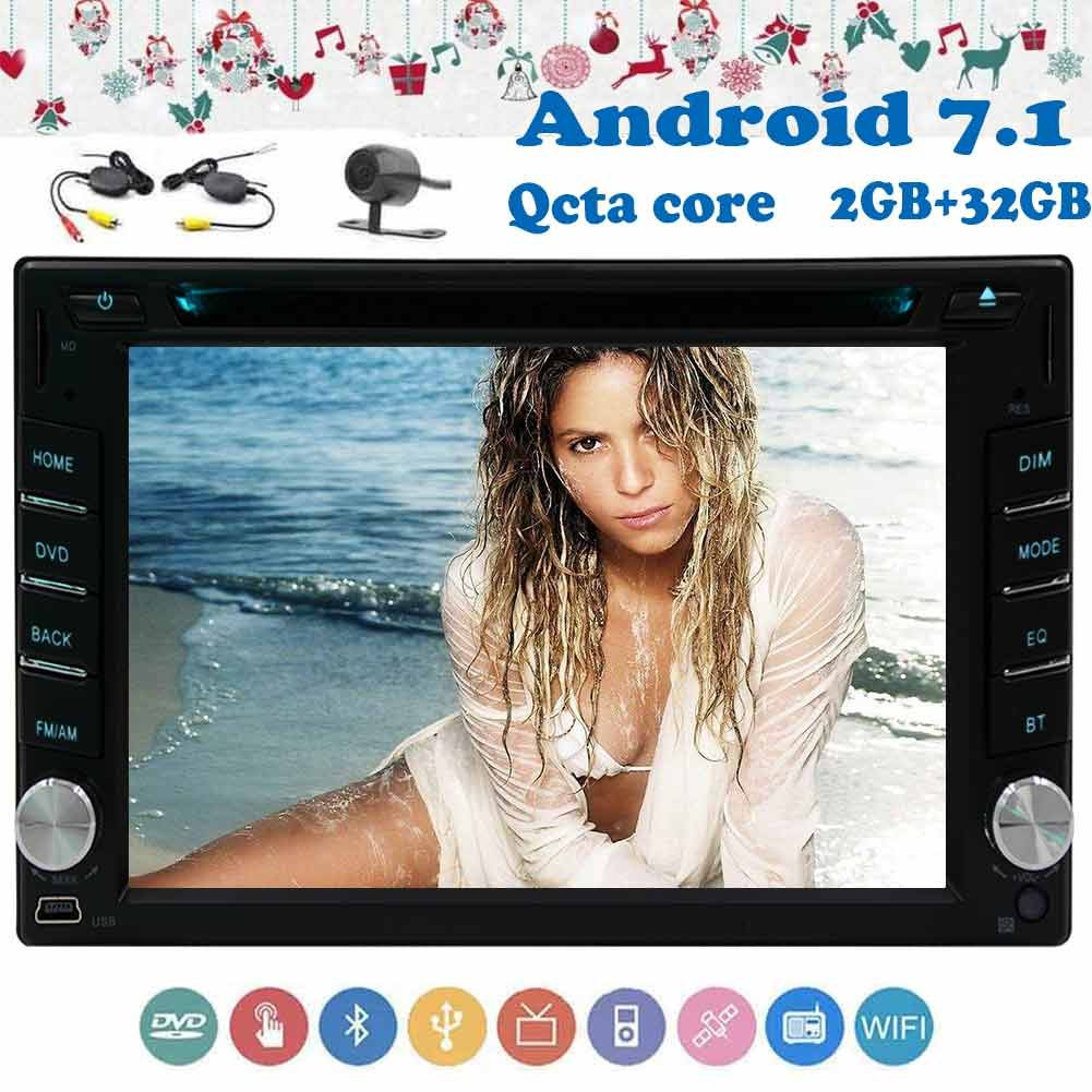 HD無料ワイヤレスカメラ+アンドロイド7.1ダブルディンカーラジオステレオ2ギガバイト32ギガバイト+ 6.2