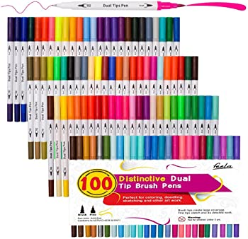 Feela 100 Colors Dual Tip Brush Pens with Fineliners Art Markers