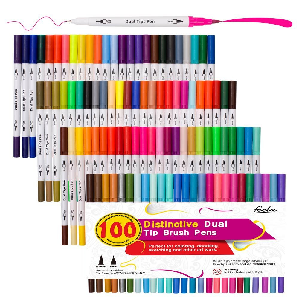 100 Colors Dual Tip Brush Pens with Fineliners Art Markers, Feela Watercolor Dual Brush Tip and Highlighters for Adult Coloring Books, Art, Sketching, Calligraphy, Manga, Bullet Journal 4336945604