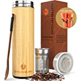 DOUNGURI Bamboo Tea Tumbler Mug with Strainer Infuser - 18oz Vacuum Insulated Stainless Steel Thermos with Filter for…
