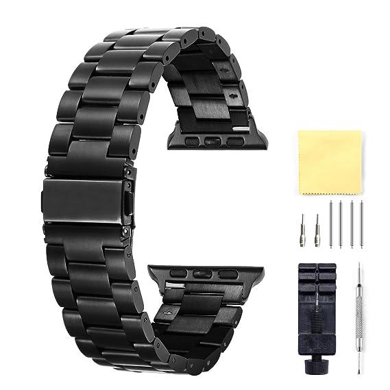 Compatible para Apple Watch Correa 38mm, 42mm Reemplazo De Acero Inoxidable Y Cerámica Correas Compatible para Apple iWatch Smart Watch Series 3,2,1, ...