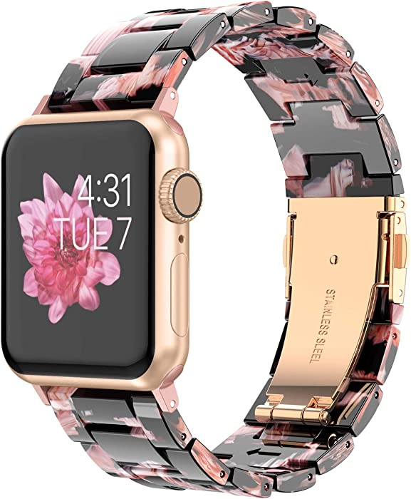 Wearlizer Womens Floral Strap Compatible with Apple Watch Bands 38mm 40mm for iWatch SE Lightweight Wristbands Dressy Replacement Exclusive Stylish Bracelet (Metal Buckle) Series 6 5 4 3 2 1 Sport