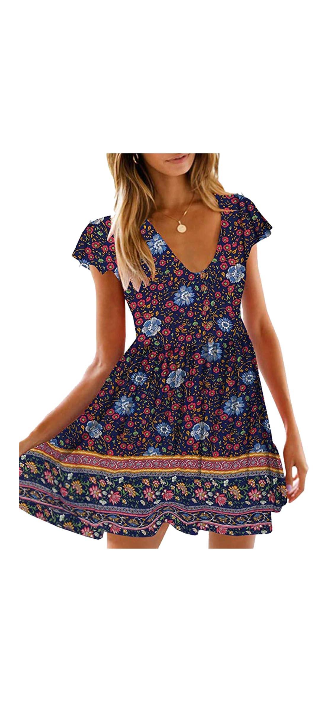 Womens  Summer Hot Short Sleeve V-neck High Waist