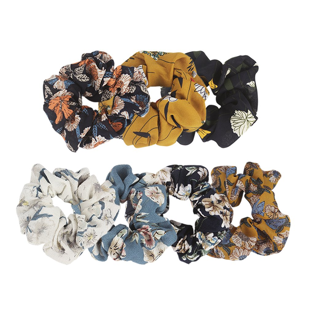 Ondder Large Chiffon Flower Hair Scrunchies Hair Bow Chiffon Ponytail Holder Bobbles Elastic Colorful Scrunchy Hair Bands Ties, 7 Pieces