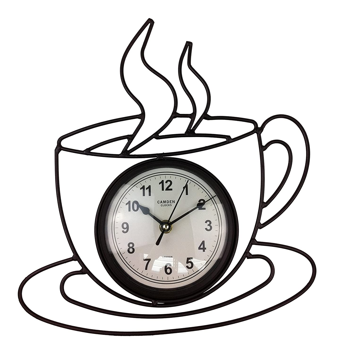 Coffee cup wall clock image collections home wall decoration ideas bnib camden london retro kitchen wall art clock black metal coffee bnib camden london retro kitchen amipublicfo Image collections