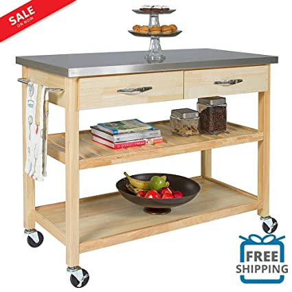 Mobile Kitchen Island Utility Cart Stainless Steel Countertop Portable  Serving Bar Storage Cabinet With Pull Out