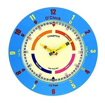 Champion Time Teacher - Reloj de pared para aprender la hora, movimiento de cuarzo, para habitación infantil o guardería - azul: Amazon.es: Hogar
