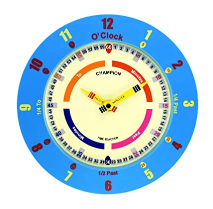 Champion Time Teacher - Reloj de pared para aprender la hora, movimiento de cuarzo,