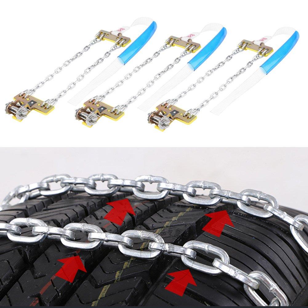 QL-02 Qiilu 3pcs Tire Anti-skid Steel Chain Snow Mud Car Security Tyre Clip-on Chain for Car Car Truck SUV