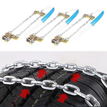 KIMISS 3 St/ück Reifen Anti Rutsch Stahl Kette Schnee Schlamm Auto Sicherheit Reifen Clip on Kette L