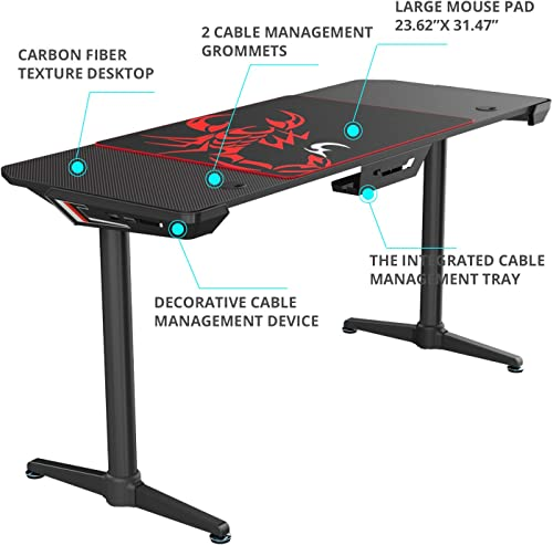 EUREKA ERGONOMIC I60 Computer Gaming Desk 60'' PC Computer Gaming Desks Carbon Fiber Texture Surface PC Gamer Desk