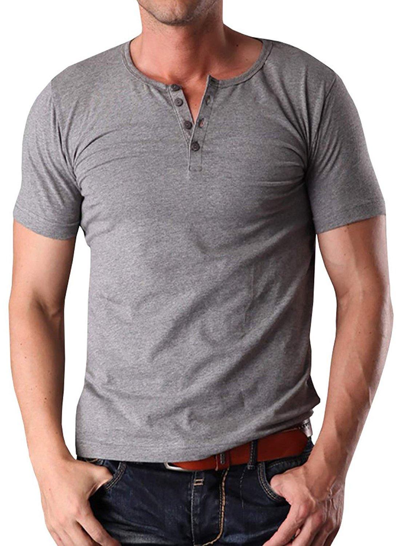 YTD Men's Casual Slim Fit Short Sleeve Henley T-Shirts Cotton Shirts L Gray