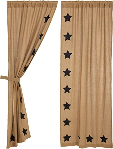 VHC Brands Burlap with Black Stencil Stars Panel Set of 2, 84×40