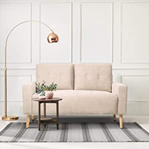 GUNJI Loveseat Sofa Modern Love Seats Furniture Mid Century Two Seat Couch for Small Space Living Room Fabric Loveseat with Solid Wood Legs (Beige)