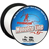FISHINGSIR MonoPro Monofilament Fishing Line Clear Premium Mono Nylon Material, Superior Strong and Abrasion Resistant,4LB-80LB