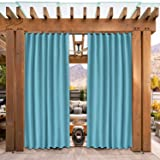 SHEEROOM Indoor/Outdoor Curtains for Patio, Teal Blue, 52 x 84 inch - Thermal Insulated, UV Sun Light Blocking Waterproof Tap