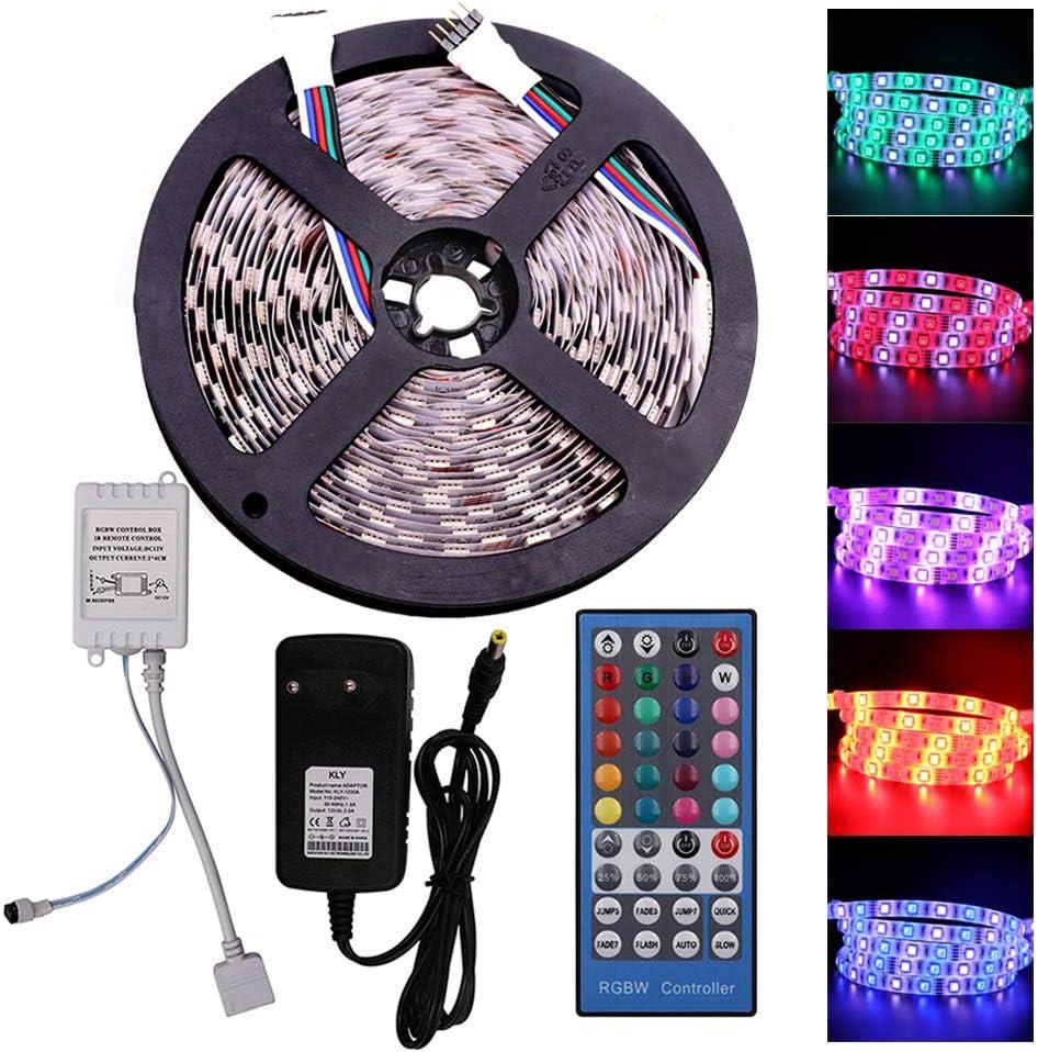 XUNATA 12V Tiras LED RGBW 5050 SMD 300 LEDs Para TV Tira de Luces LED Kit Completo con control remoto de 40 teclas (No Impermeable, 5m (RGB + Blanco Cálido))