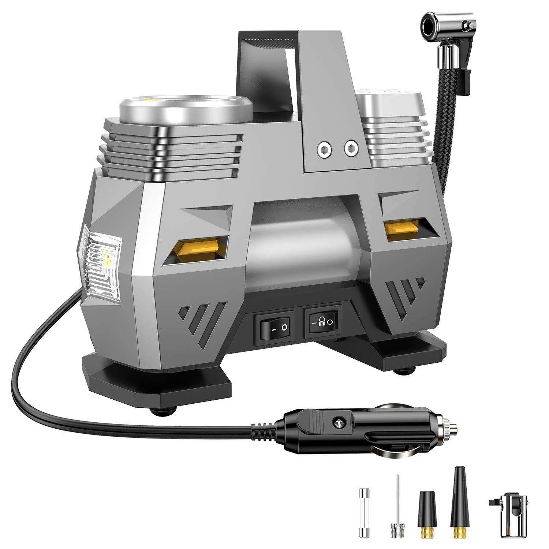 CICMOD Compresor de Aire Portátil para Coche, 12V 120W 150 PSI Inflador Eléctrico con Pantalla Digital y Luce de LED para Minivan, Caravan, Truck, ...