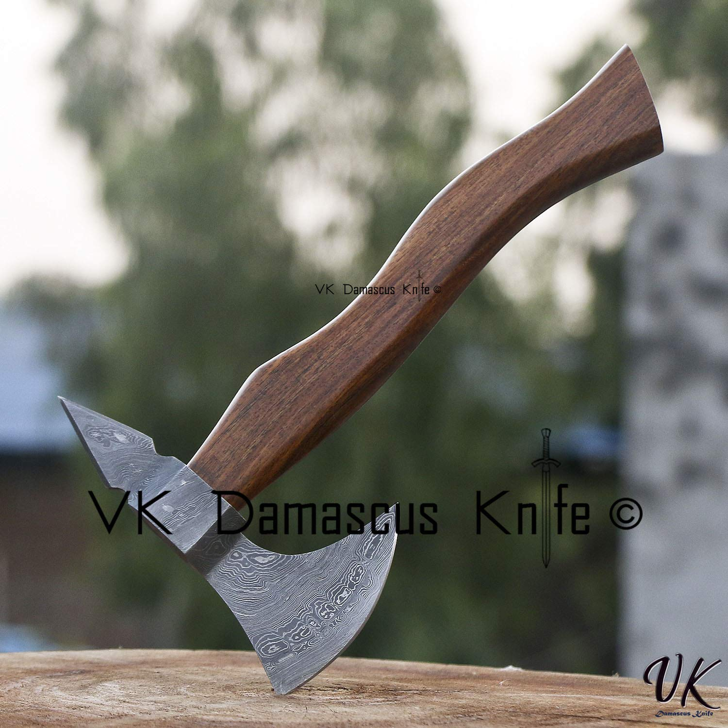 JNR TRADERS Handmade Damascus Steel Axe Hatchet Tomahawk Knife 10.00 Inches Axe Rose Wood Handle vk2217 by JNR TRADERS (Image #6)