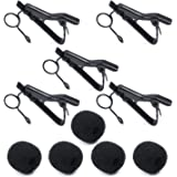 Microphone Tie Clip,PEMOTech 5 Pack Tie Clip for Lavalier with 5 Pack Foam Windscreens for Lavalier, Lapel and Headset Microphones like ATR-3350,ATR3350IS,Samson, Nady, Shure, Audio-Technica, Hisonic