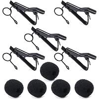Micro-cravate, PEMOTech (5 Pack) Bonnette anti-vent en mousse pour la plupart des microphones comme ATR-3350 et ATR3350IS, Samson, Nady, Shure, Audio-Technica, Hisonic (Noir)