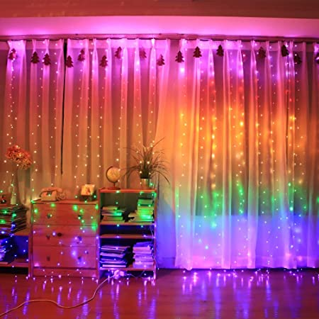 Amazon Com Honche Led Curtain String Lights Usb With Remote For Bedroom Wedding Rainbow Color Home Improvement