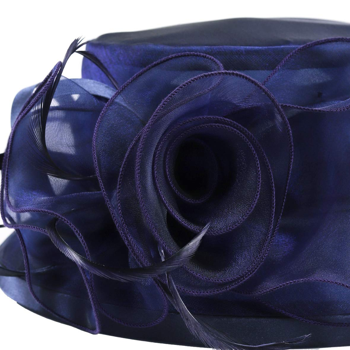 Lady Church Derby Dress Cloche Hat Fascinator Floral Tea Party Wedding Bucket Hat S051 (S043-Navy) by Ruphedy (Image #6)