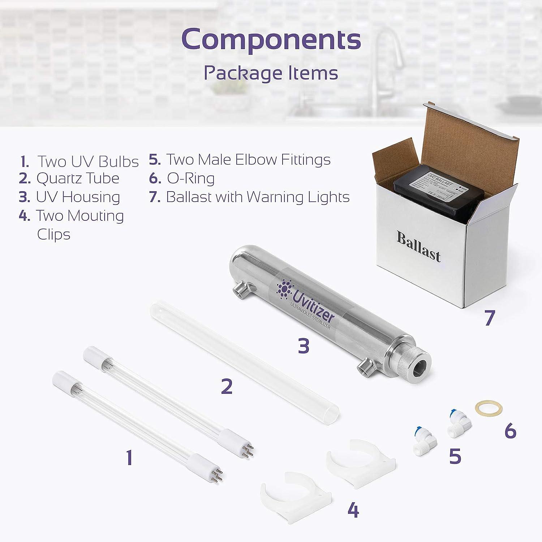 Purificador de agua ultravioleta – esterilizador de luz UV – 12 pulgadas de carcasa de filtro & 10