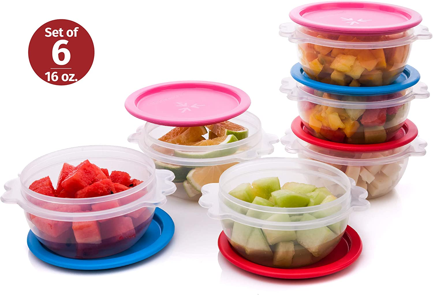 Reusable Plastic Food Storage Containers – Stackable Airtight Clear Bowls with Lids for Cereal, Soups, Snacks, Salads and more – Set of 6 500ml Bowls – Dishwasher, Microwave and Freezer Safe