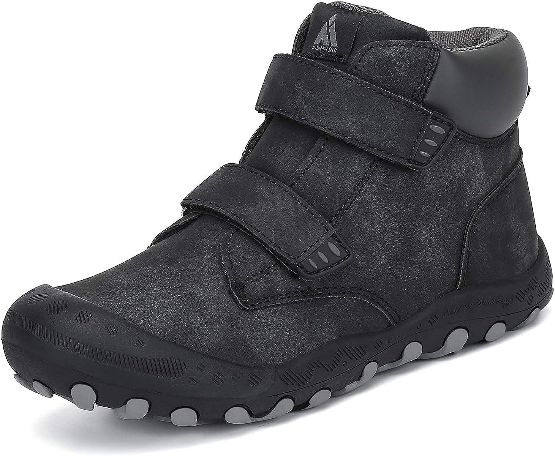 Mishansha Kids Outdoor Hiking Boots Boys Athiletic Ankle Booties Girls Trekking Walking Shoes, C-Black 4 Big Kid