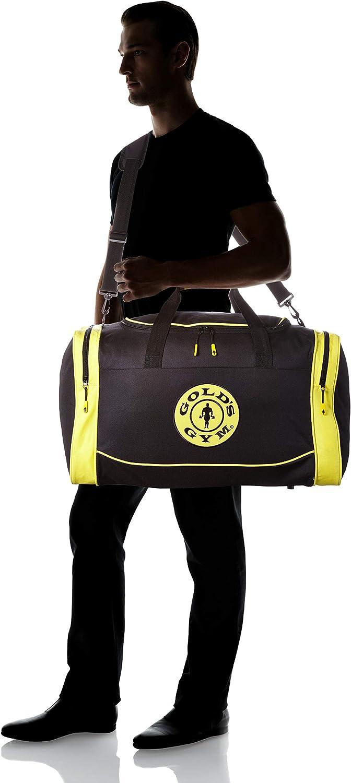 Golds Gym 2017 Large Sports Duffel Bag Mens Gym Bag//Travel Holdall Black//Gold