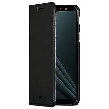 CASEZA Samsung Galaxy A6 Plus Funda Negro Tipo Libro Piel PU Case Cover Carcasa Plegable Cartera Oslo Piel Vegana Premium para Galaxy A6 Plus 2018 ...
