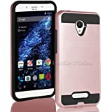 BLU Studio X8 HD case, {NFW} Tough Hybrid + Dual Layer Shockproof Drop Protection Metallic Brushed Case Cover for Studio X8 HD (S530) (VGC RoseGold)