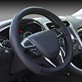 SEG Direct Black Microfiber Leather Auto Car Steering Wheel Cover Universal 15 inch
