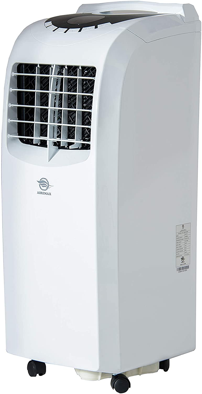 AireMax 12000 BTU 3-in-1 Portable Air Conditioner for Rooms up to 400 Sq Ft with Remote Control, 2 Washable Filters, Exhaust Hose and Window Kit, White