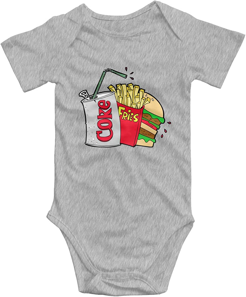 Junk Food and A Diet Coke Unisex Baby Onesies Funny Cute Soft Cotton Short-Sleeve Bodysuit for Boy Girls