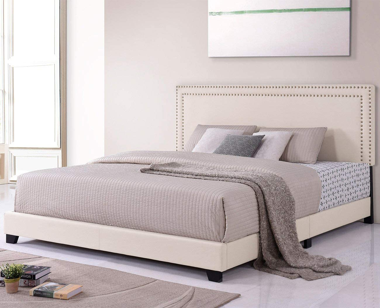 LZ LEISURE ZONE King Bed Frame Upholstered Platform Mattress Foundation with Wooden Slat Support Nailhead Headboard Beige, King