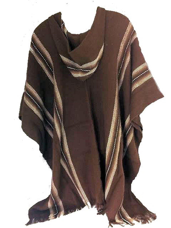 100/% Baby Alpaca Mens Fair Trade Poncho Jumper Wool Cloak Cape Jacket Brown