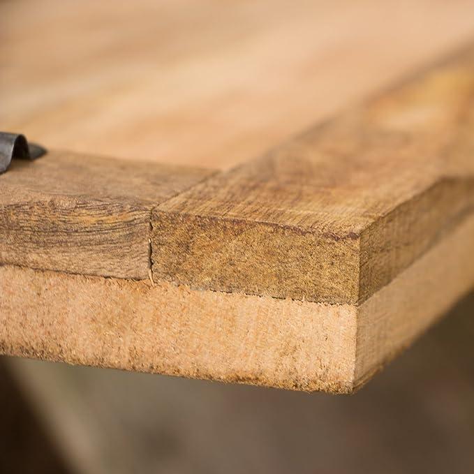 Rustikales Servierbrett mit Metallgriff nostalgisch Tablett aus Massivholz