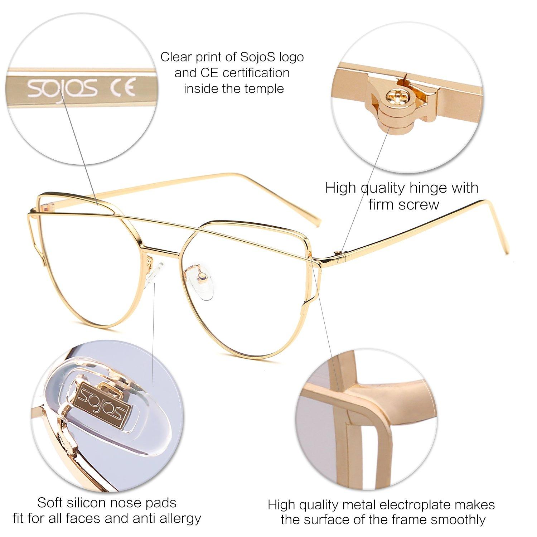 SOJOS Mode Twin-Beams Metallique Lunette de Soleil Femme Œil de Chat  Miroité Verres Plats Lentille Street Fashion Cateye Women Sunglasses SJ1001  avec Cadre ... eb32e395c374