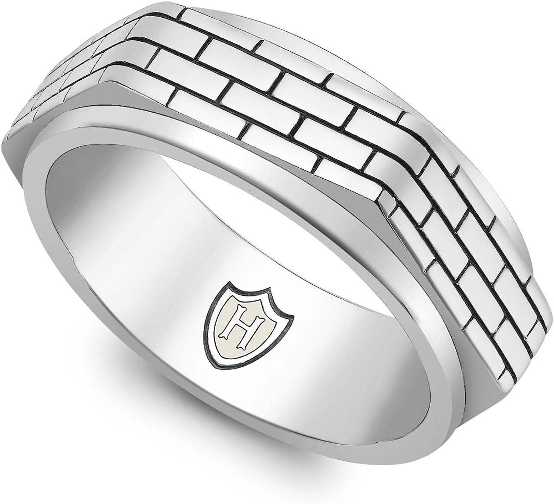 Hoxton London Mens Sterling Silver Brick Patterned Hexagonal Spinning Ring