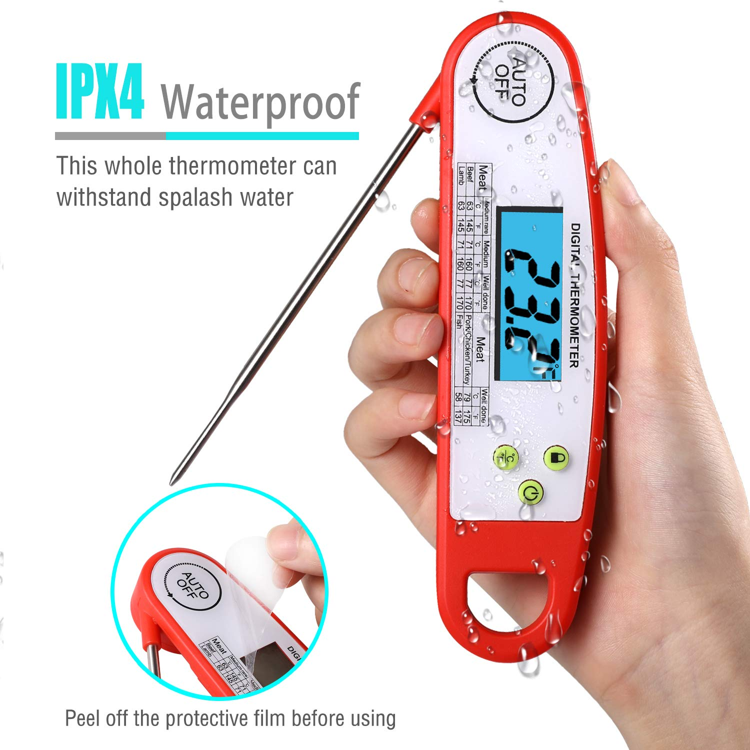 Austruke Instant Read Meat Thermometer-Waterproof Digital Meat Thermometer Super Fast Instant Read Thermometer with Backlight & Calibration. For Food, Candy, Milk, Tea, BBQ, Grill Smoker.
