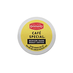 Community Coffee Café Special Medium Dark Roast Single Serve, 36 Ct Box, Compatible with Keurig 2.0 K Cup Brewers, Full Body Smooth Full Flavor, 100% Arabica Coffee Beans