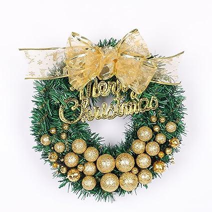 ruier hui christmas garland 30cm balls gradient golden christmas decorative wreath festival door hanging - Indoor Christmas Decorations Amazon