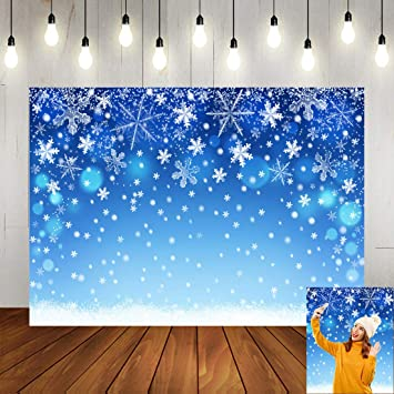Winter Snowscape Backdrop 8x6.5ft Merry Christmas Polyester Photography Background Snowfall Streetscape Xmas Light Warm House Snowflake Bokehs New Year Decor Photo Prop Studio Wallpaper