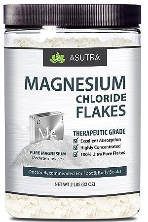 Pure Zechstein - Copos de cloruro de magnesio - Doctor recomendado para pies y jabones corporales + libro electrónico de magnesio FREE (un tarro de 2 ...
